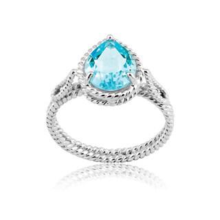 La Preciosa Sterling Silver Blue Topaz Teardrop Ring