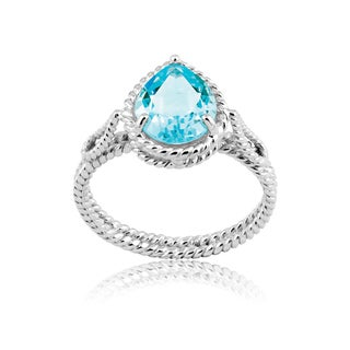 La Preciosa Sterling Silver Blue Topaz Teardrop Ring