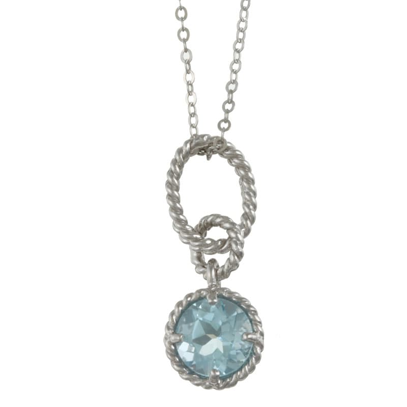 La Preciosa Sterling Silver Blue Topaz Braided Necklace