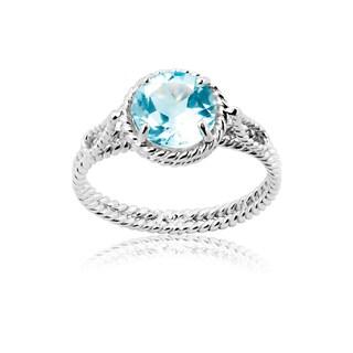 La Preciosa Sterling Silver Blue Topaz Braided Ring