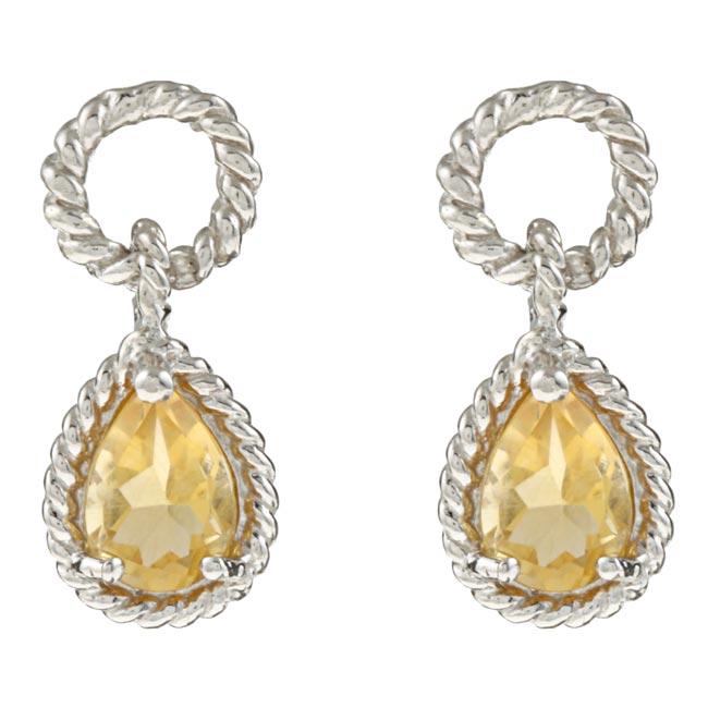 La Preciosa Sterling Silver Citrine Teardrop Earrings