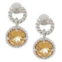 La Preciosa Sterling Silver Citrine Circle Earrings