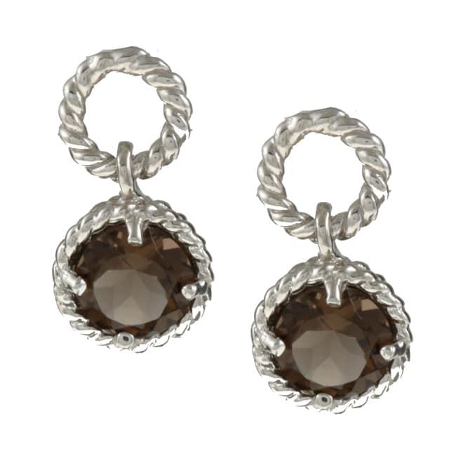 La Preiosa Sterling Silver Smokey Quartz Earrings