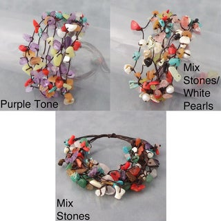 Cotton Rope Multi-gemstone Cluster Bracelet (Thailand)