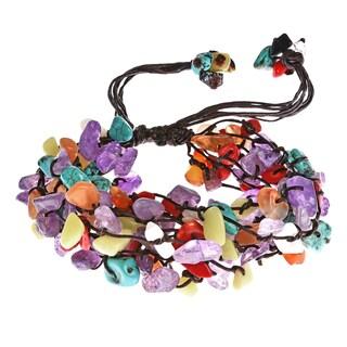 Handmade Cotton Rope Multi-gemstone Cluster Bracelet (Thailand)
