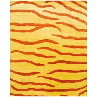 Herat Oriental Indo Hand-tufted Rust/ Yellow Zebra Stripe Wool Rug (8' x 10')