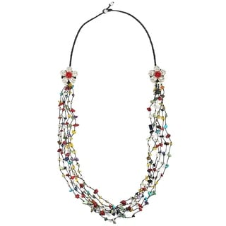 Cotton Rope Long Double Flowers Multi-gemstone Necklace (Thailand)