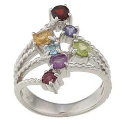 La Preciosa Sterling Silver Round-cut Multi-gemstone Ring