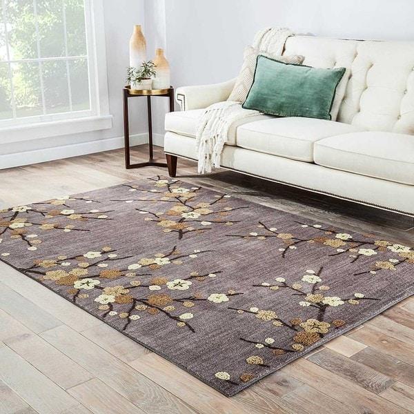 "Cerise Handmade Floral Gray/ Gold Area Rug (5' X 7'6"") - 5' x 7'6"""