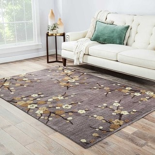 "Cerise Handmade Floral Gray/ Gold Area Rug (5' X 7'6"")"