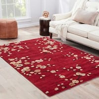 Cerise Handmade Floral Red/ Gold Area Rug - 5' x 8'