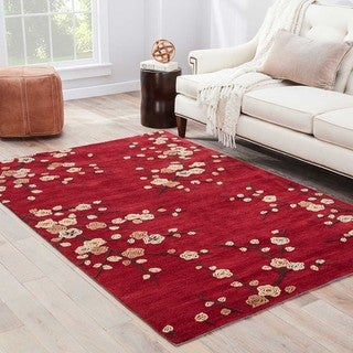 """Cerise Handmade Floral Red/ Gold Area Rug (7'6"""" X 9'6"""")"""