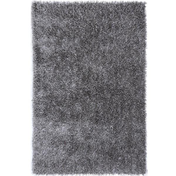 Hand-tufted Grey Shag Polyester Rug (2' x 3')