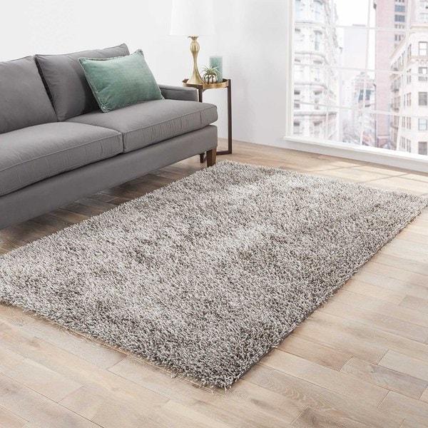 Hand-tufted Grey Shag Polyester Rug (3'6 x 5'6)
