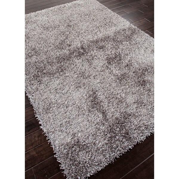 Hand-tufted Grey Shag Polyester Rug (5' x 7'6)