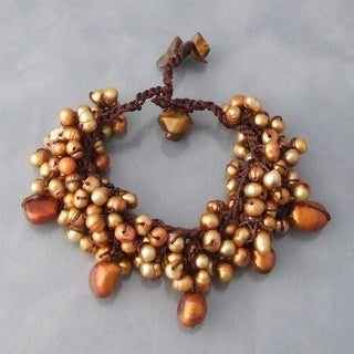Handmade Cotton Pearl and Mother of Pearl Cluster Bracelet (Thailand)