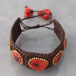 Handmade Cotton Rope Sliced Coral Brass Bead Bracelet (Thailand) - Thumbnail 1