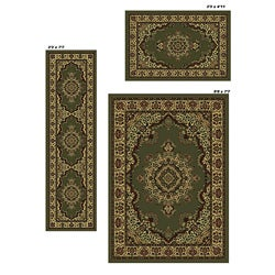 Admire Home Living Caroline Green Medale Rugs (Set of 3) - 5'5 x 7'7