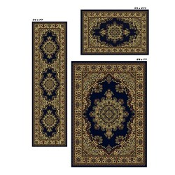 Admire Home Living Caroline Blue Medale Rugs (Set of 3) - 5' x 8'