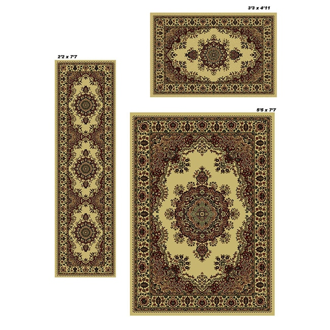 Admire Home Living Caroline Ivory Medale Rugs - 5'5 x 7'7