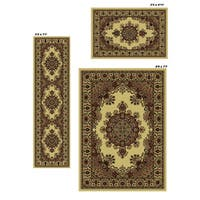 Admire Home Living Caroline Ivory Medale Rugs (Set of 3) - 5'5 x 7'7