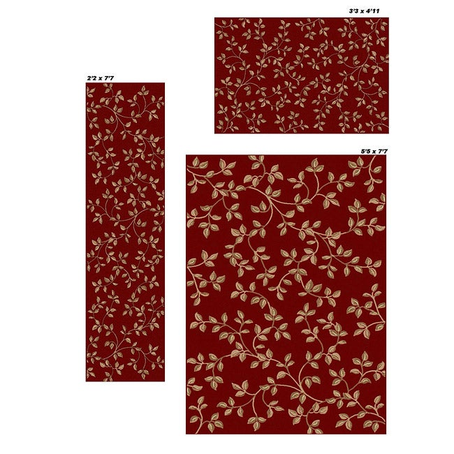 Admire Home Living Virginia Floral Red Rugs (Set of 3)