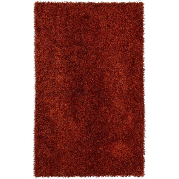 Hand-woven Red Shag Polyester Rug (7'6 x 9'6)
