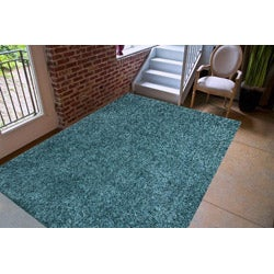 Hand-woven Blue Shag Polyester Rug (5' x 7'6)