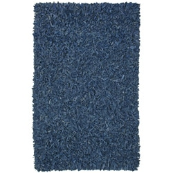 Hand-tied Pelle Blue Leather Shag Rug (4' x 6')