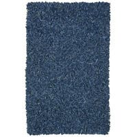 Hand-tied Pelle Blue Leather Shag Rug (4' x 6') - 4' x 6'