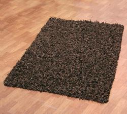 Hand-tied Pelle Dark Brown Leather Shag Rug (5' x 8') - Thumbnail 1