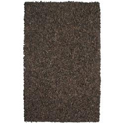 Hand-tied Pelle Dark Brown Leather Shag Rug (5' x 8')