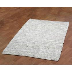 Hand-woven Matador White Leather Rug (5' x 8')