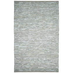 Hand-woven Matador White Leather Rug (5' x 8')