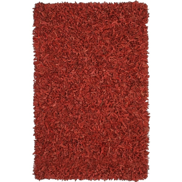 Hand-tied Pelle Red Leather Shag Rug (5' x 8') - 5' x 8'