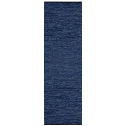 Hand-woven Matador Blue Leather Runner (2'6 x 12')