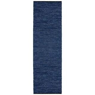 Hand-woven Matador Blue Leather Runner (2'6 x 12')