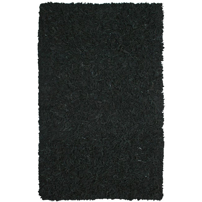 Hand-tied Pelle Black Leather Shag Rug (5' x 8')