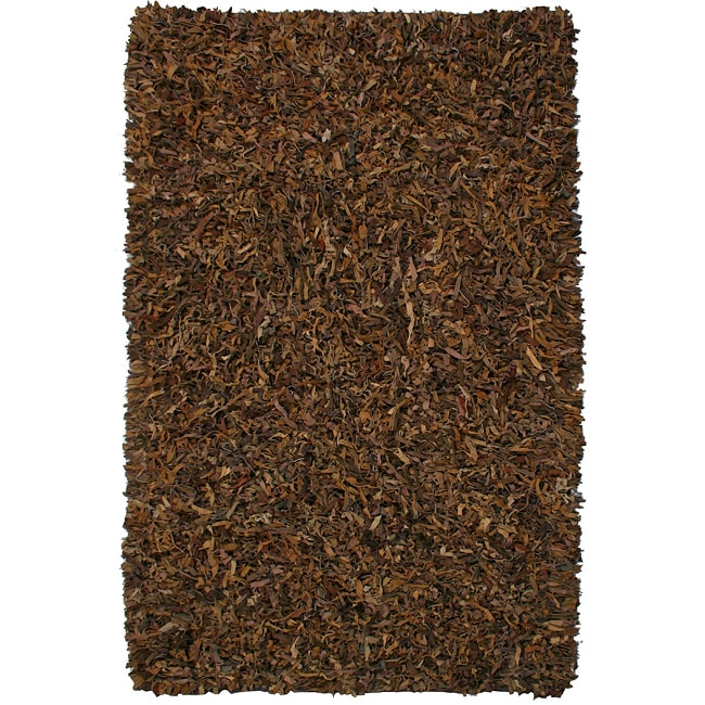 Hand-tied Pelle Brown Leather Shag Rug (8' x 10')