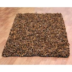 Hand-tied Pelle Brown Leather Shag Rug (8' x 10') - Thumbnail 1