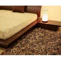 Hand-tied Pelle Brown Leather Shag Rug (8' x 10') - Thumbnail 2