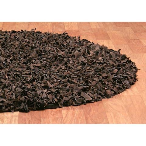 Dark Brown Pelle Leather Shag Rug