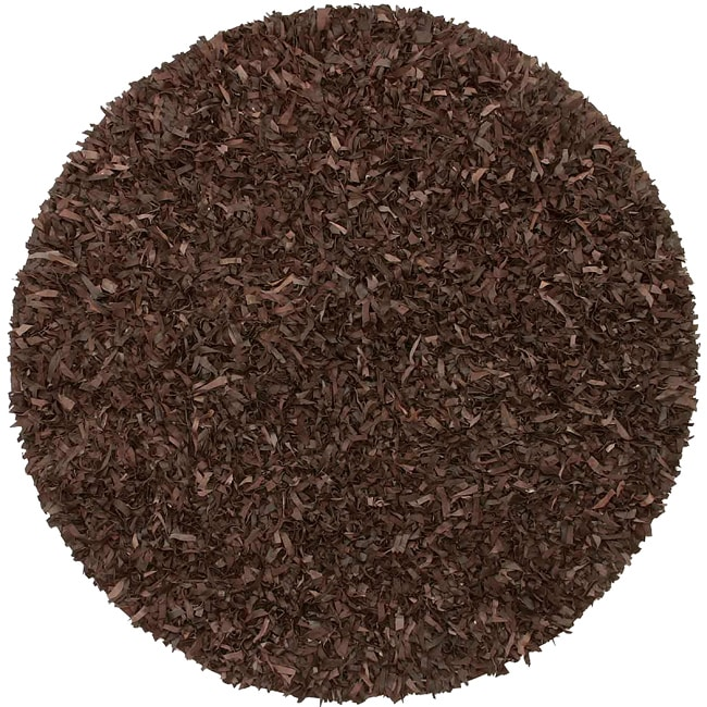 St. Croix Hand-tied Pelle Dark Brown Leather Shag Rug (8'...