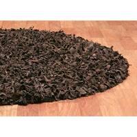 Hand-tied Pelle Dark Brown Leather Shag Rug (8' Round) - 8' x 8'