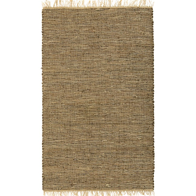 Hand-woven Brown Leather/ Hemp Rug (9' x 12')