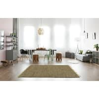 Hand-woven Brown Leather/ Hemp Rug (9' x 12')