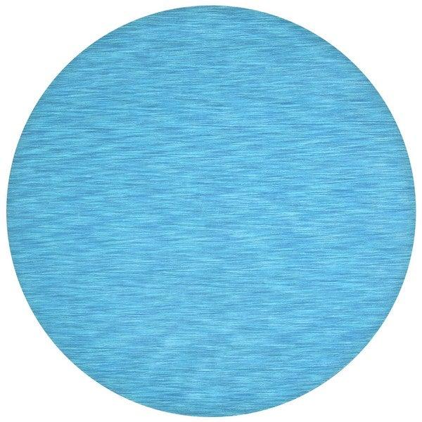 Hand-tufted Fusion Aqua Wool Rug (6' Round)