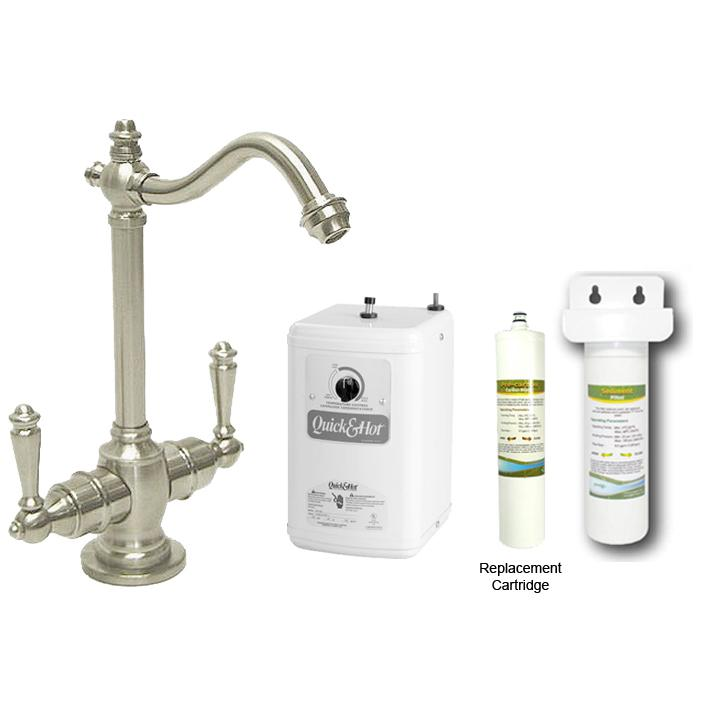 Westbrass Satin Nickel Victorian Hot/ Cold Water Dispenser Faucet with Under-counter Filter Kit