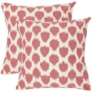 Safavieh Romance 18-inch Rose Red Decorative Pillows (Set of 2)