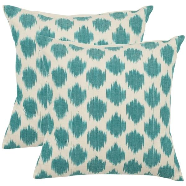 Safavieh Oceans 18-inch Aqua Blue Decorative Pillows (Set of 2)